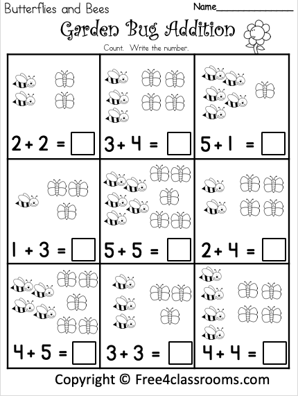 Free Garden Bugs Addition Worksheets