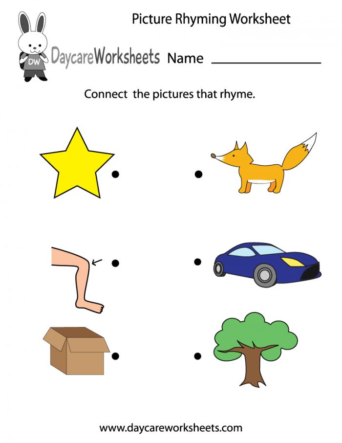 Preschool Rhymes Worksheets 99Worksheets