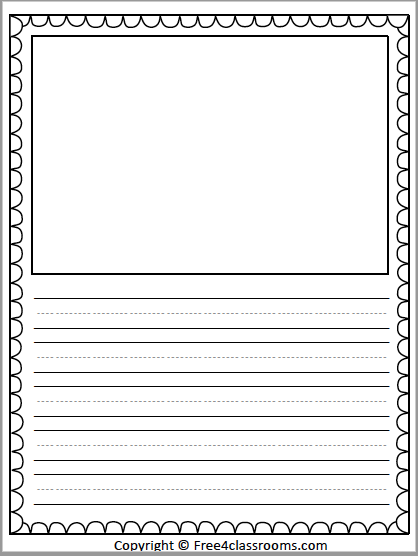 Free Primary Lined Writing Paper With Drawing Art Box