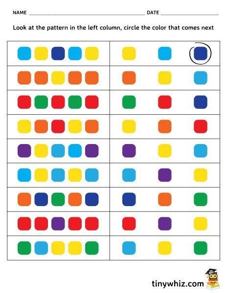 Free Printable Color Pattern Worksheet For Kindergarten