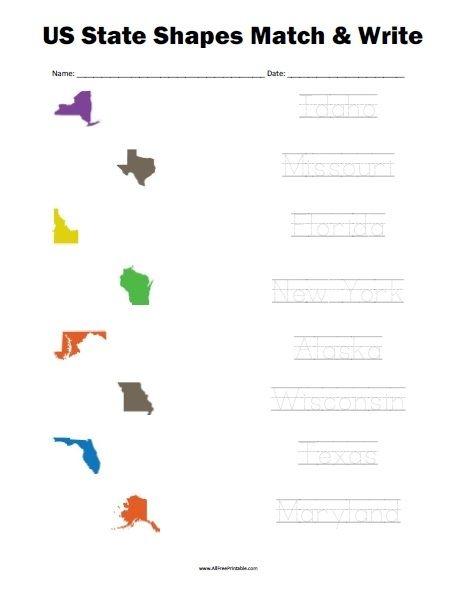 Free Printable Us State Shapes Matching Worksheet Free Printable