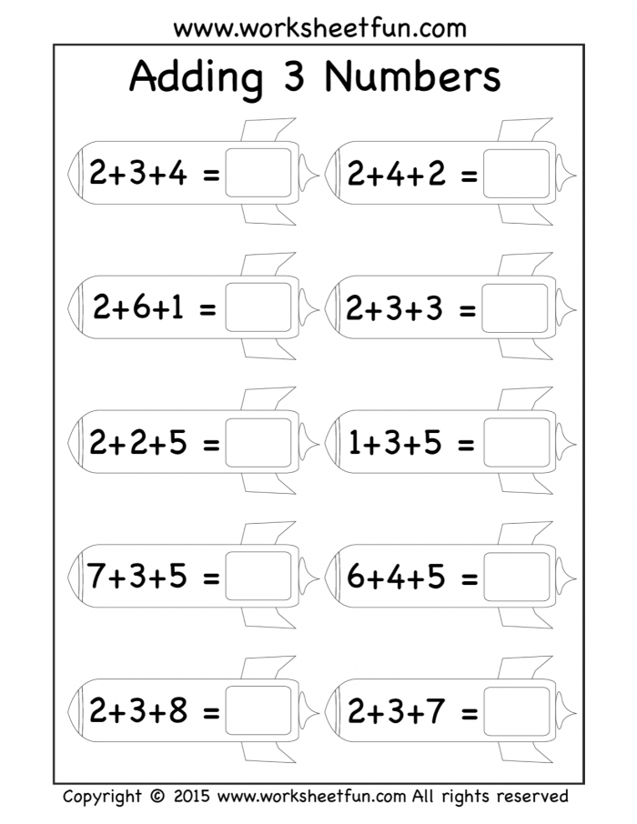 Free Three Addend Worksheets  Adding  Numbers Rockets