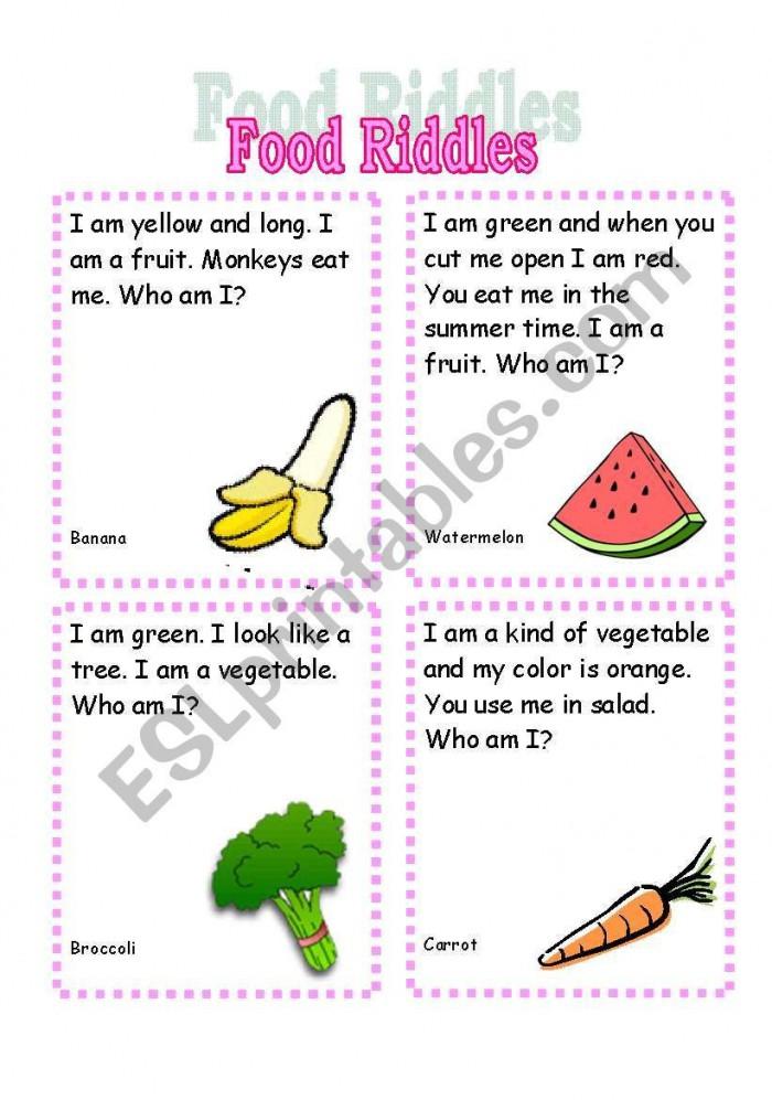 Fruit Riddle Worksheets