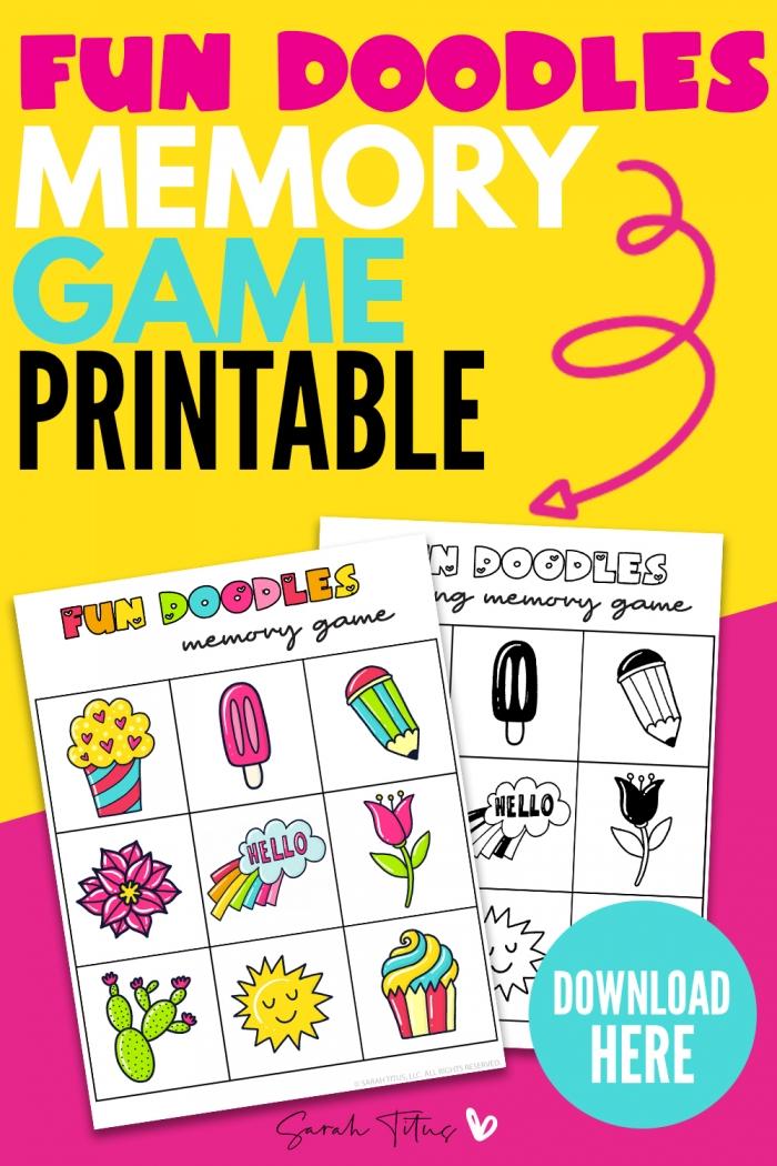 Fun Doodles Memory Games Printable For Kids To Enjoy