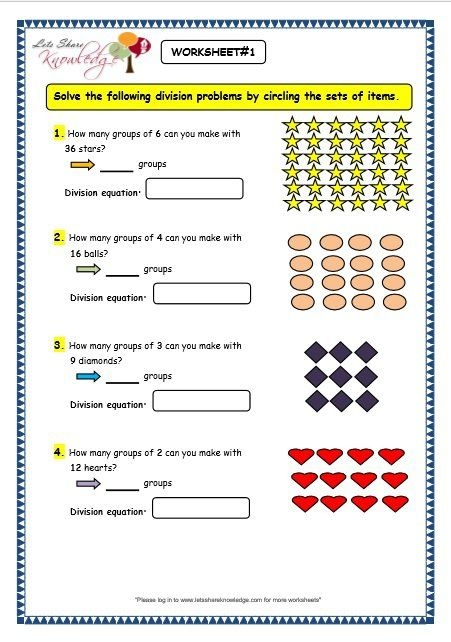 Grade  Maths Worksheets Division   Division By Grouping