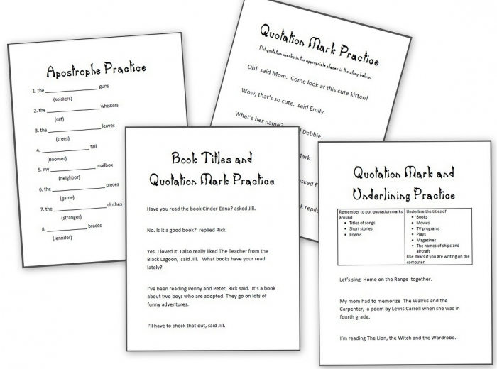 Grammar Practice Sheets Apostrophes  Quotation Marks And