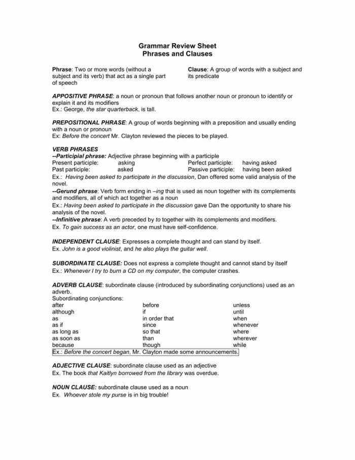 Grammar Review Sheet Phrases And Clauses