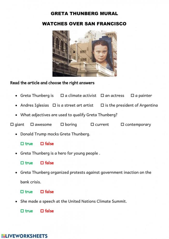 Greta Thunberg Interactive Worksheet