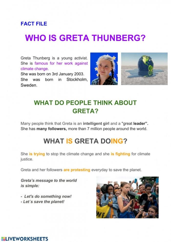 Greta Thunberg Worksheet