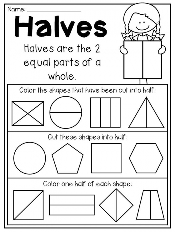 Halves Worksheet For First Grade First Grade Fractions And