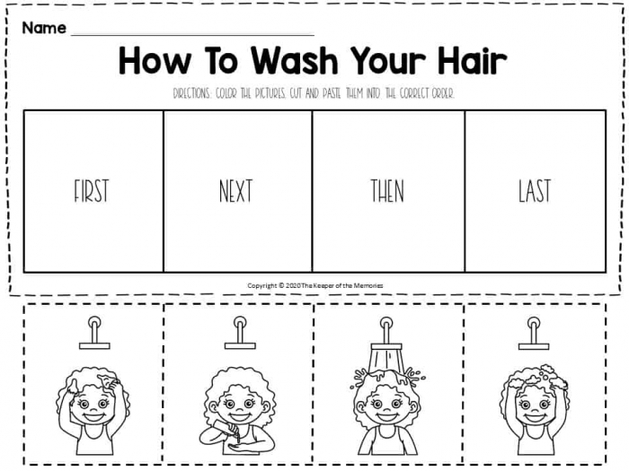 Hygiene Sequencing Worksheets How To Wash Your Hair