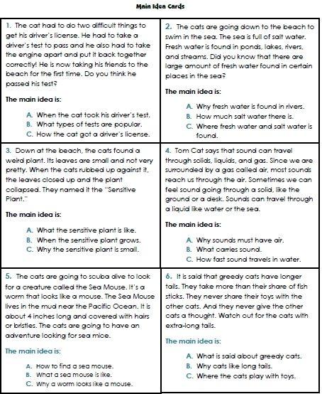Identifying The Main Idea Worksheets Grade