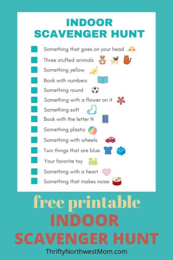 Indoor Scavenger Hunt For Kids Free Printable In
