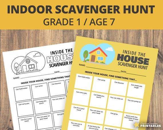 Indoor Scavenger Hunt Worksheet Grade