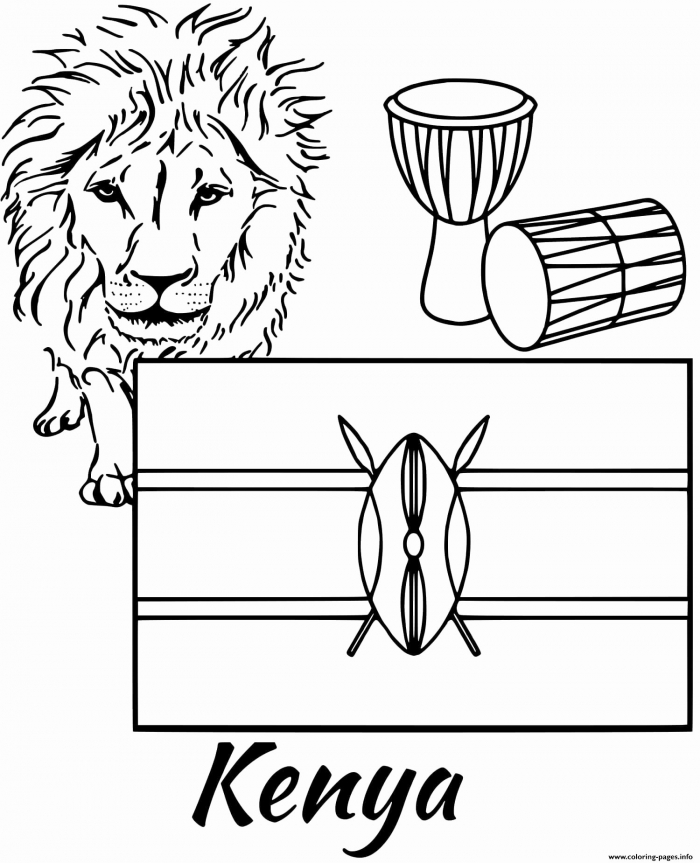 Kenya Map Coloring Page Awesome Countries Africa Worksheets