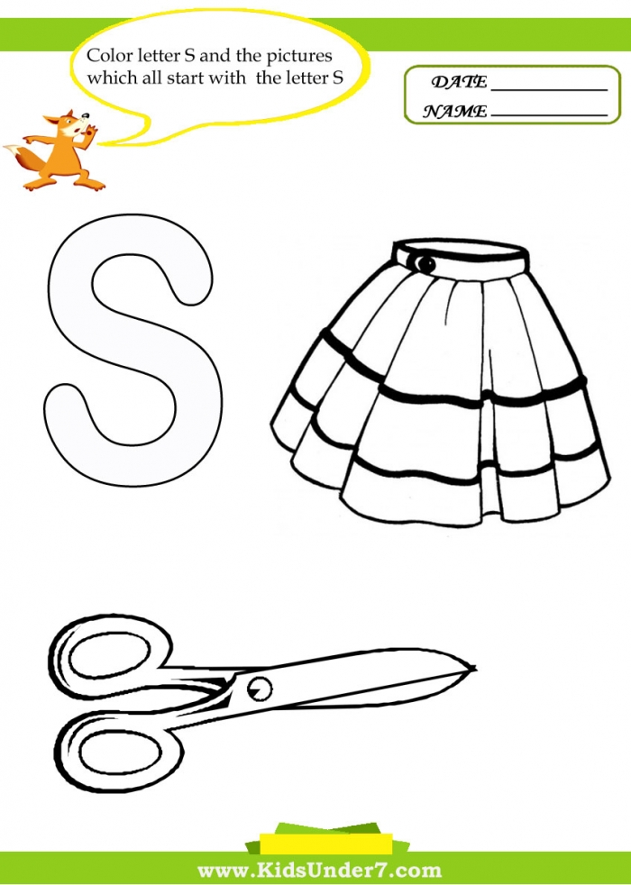 Kids Under  Letter S Worksheets And Coloring Pages