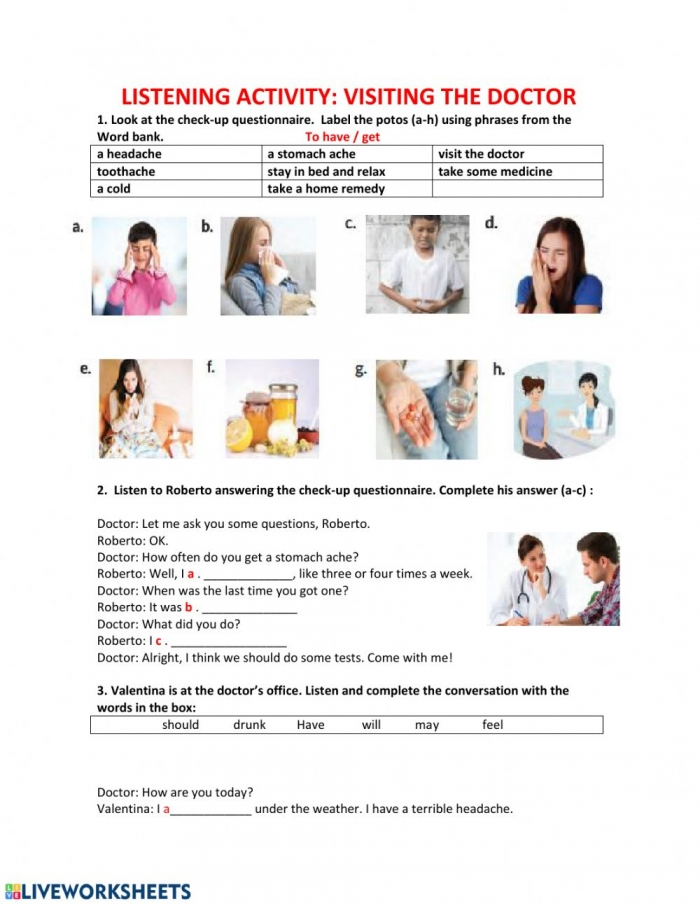 Listening Activity Visiting The Doctor Worksheet