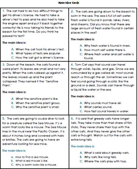 Main Idea Worksheets Rd Grade  Kindergarten Coloring