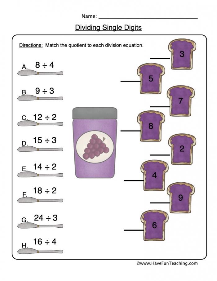 Matching Division Worksheet  Have Fun Teaching
