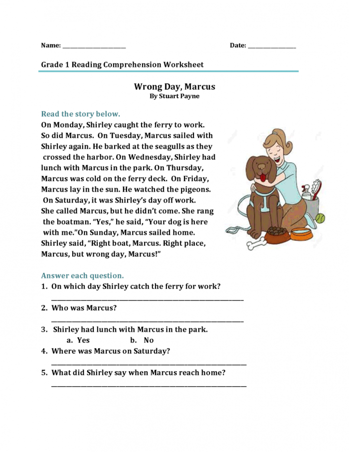 Math Worksheet  St Grade Reading Comprehension Worksheets Best