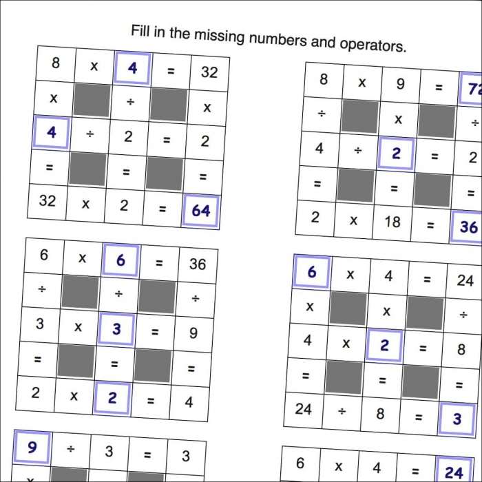 Math Worksheets Multiplication And Division With Missing Values