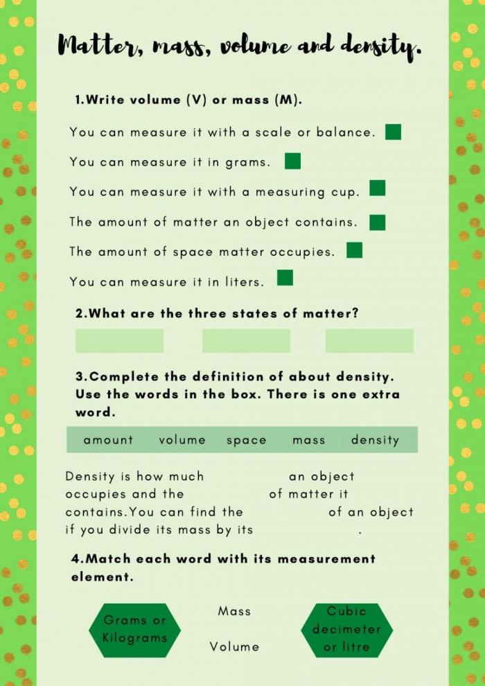Matter  Mass  Volume And Density Worksheet