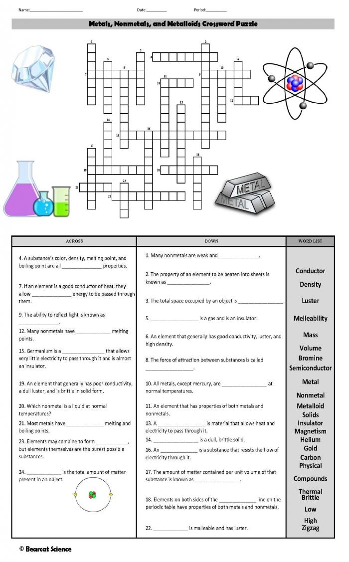 Metals  Nonmetals  And Metalloids Crossword Puzzle