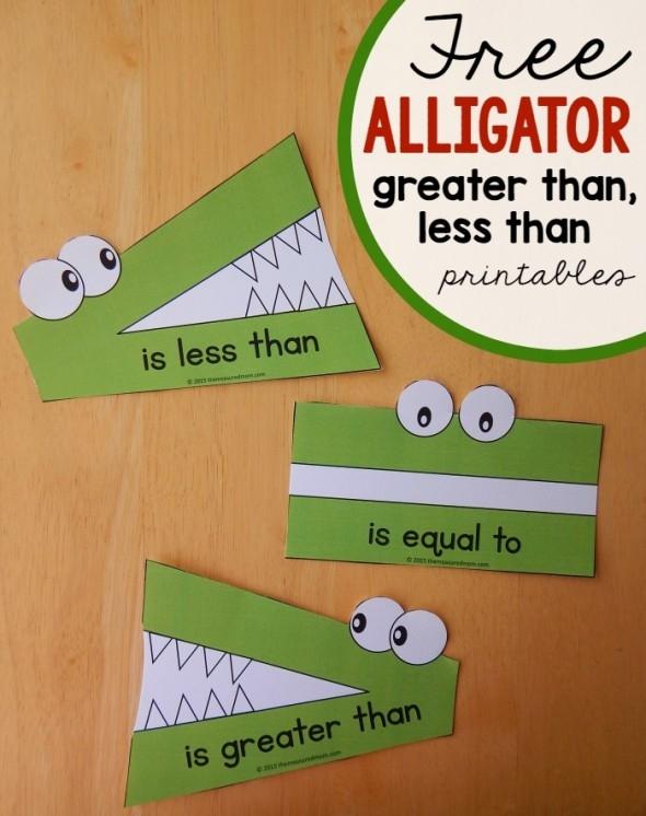 Montessori Monday Greater Than Less Alligator Math Free Worksheets