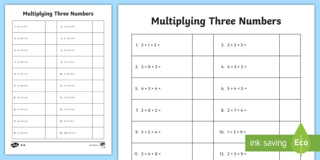 Multiply  Numbers Worksheet  Worksheet Teacher Made