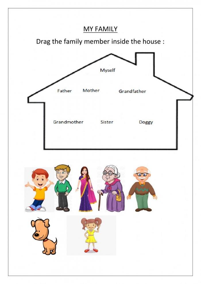 My Family Worksheet For Preprimary
