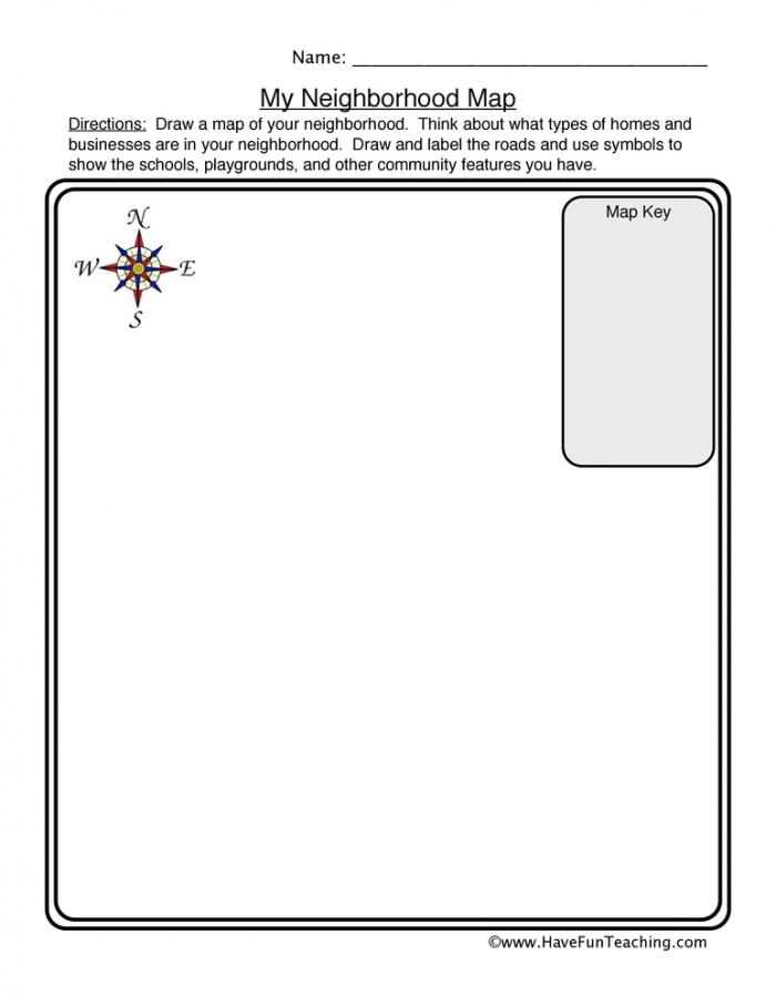 Neighborhood Map Worksheet  Have Fun Teaching