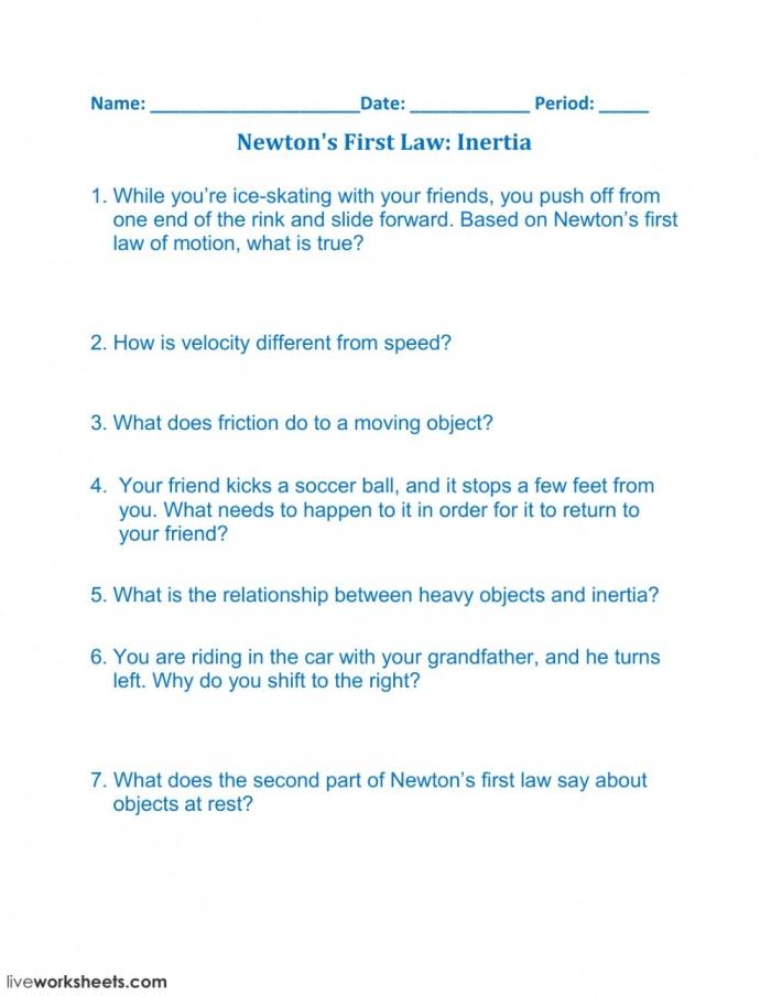 Newtons First Law Inertia Worksheet