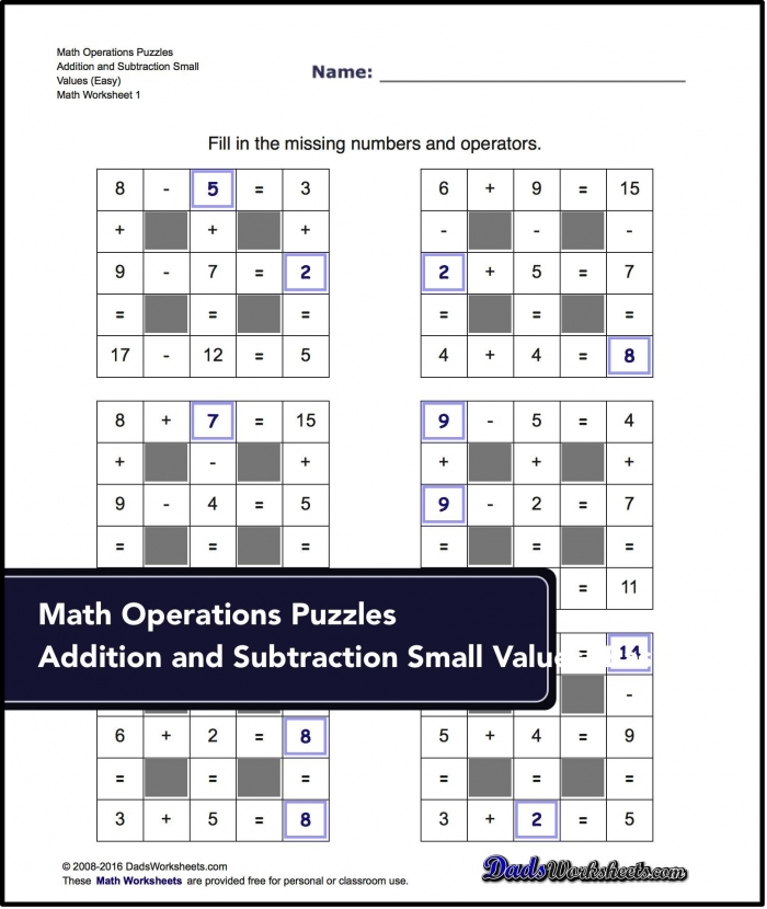 Number Grid Puzzles Addition And Subtraction With Missing Values