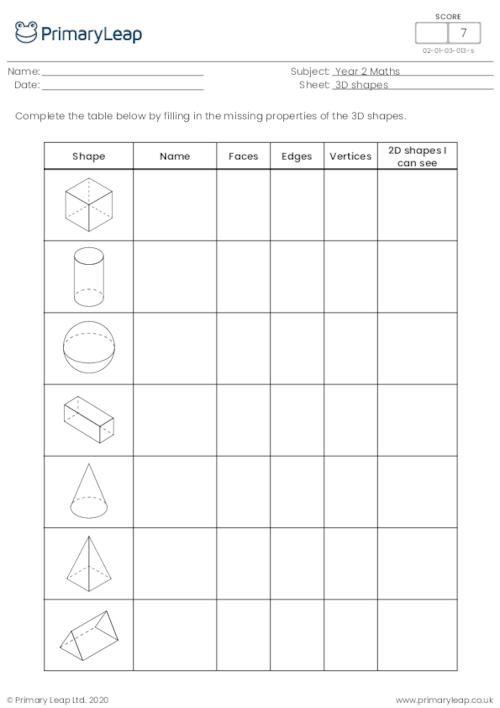 Numeracy Properties Of D Shapes