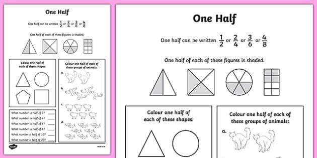 One Half Worksheet