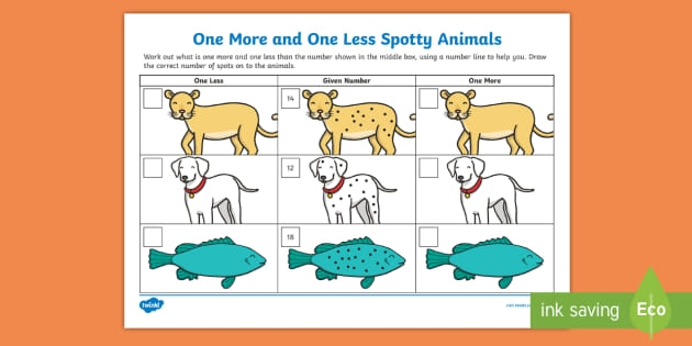 One More One Less Spotty Animals Worksheet Teacher Made