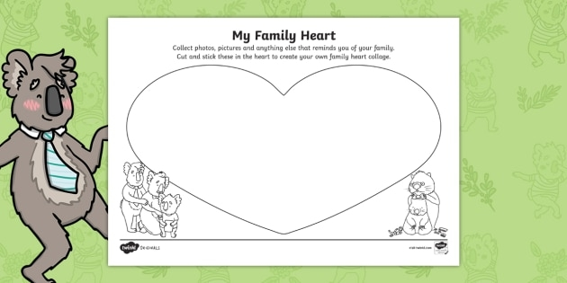 Part Of The Party My Family Heart Collage Worksheet
