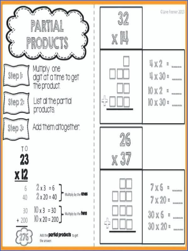 Partial Products Worksheets Free Product Multiplication Printable