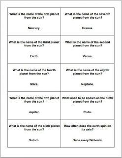 Kindergarten Cards: Trivia!