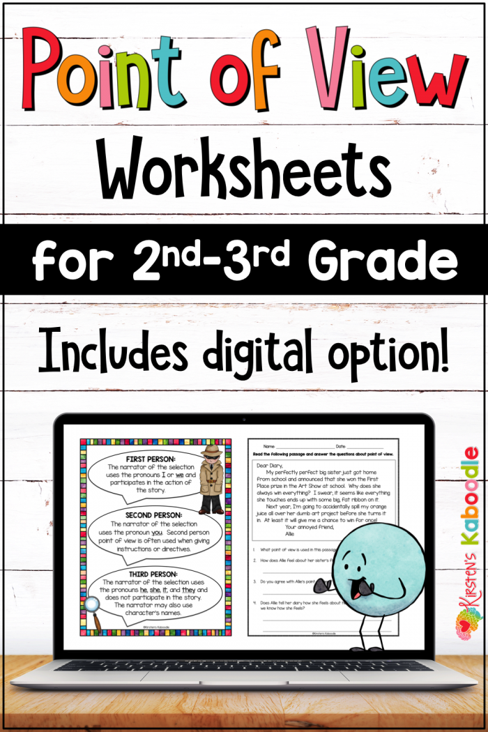 Point Of View Worksheets And Anchor Charts For Nd   Rd Grade W