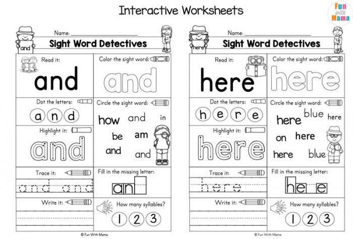 Pre K Sight Words Worksheets