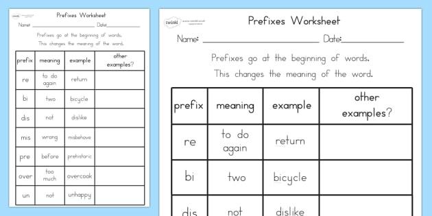 Prefixes Worksheet Teacher Made