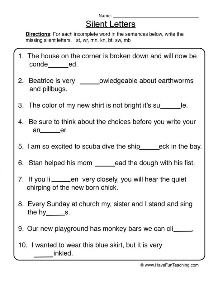 Quiet Letters Working Worksheet  Have Fun Teaching