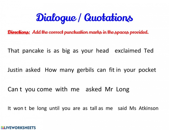 Quotation Marks And Punctuation In Quotations Worksheet