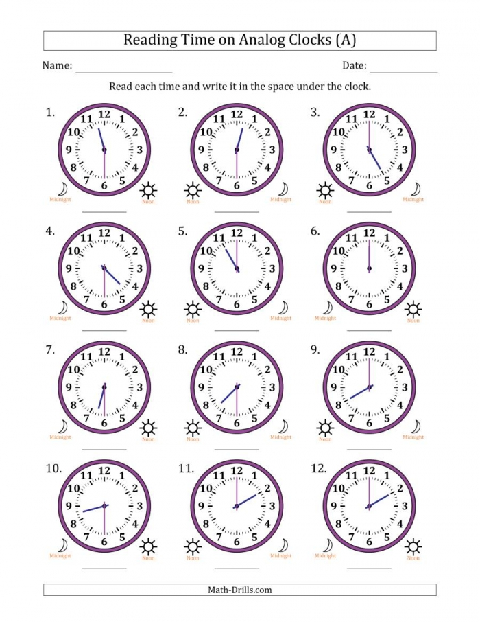 Reading  Hour Time On Analog Clocks In  Minute Intervals