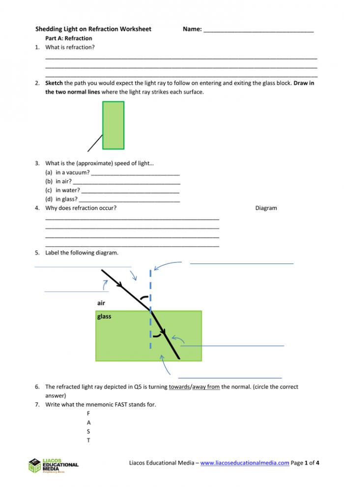 Shedding Light On Refraction Worksheet