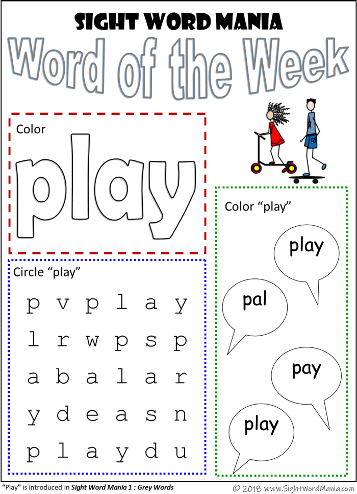 Sight Word Of The Week