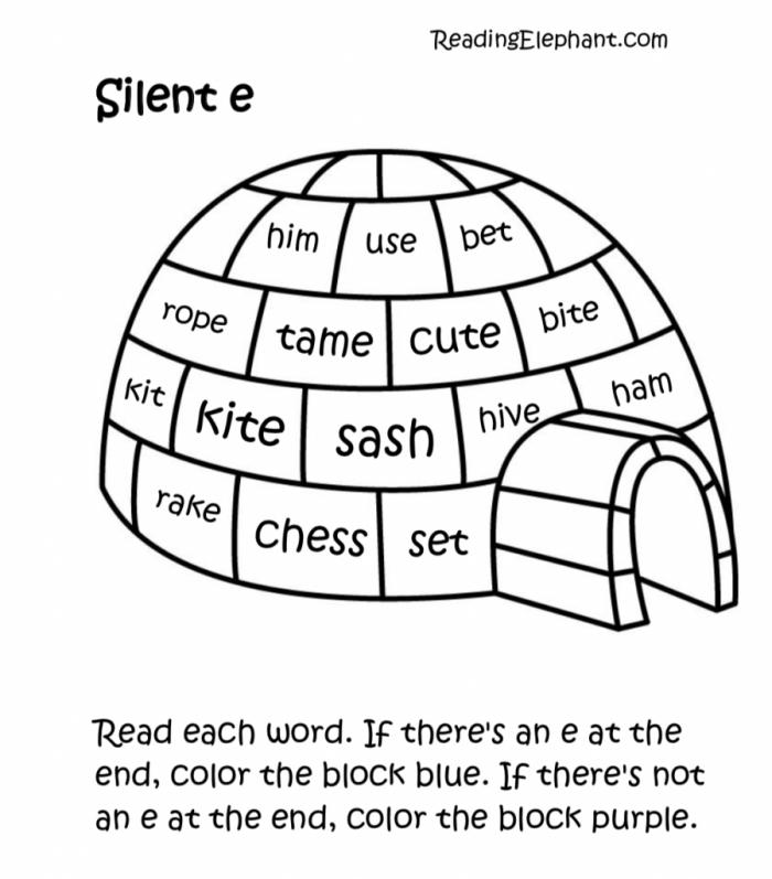 Silent E Worksheets Pdf Igloo Fun