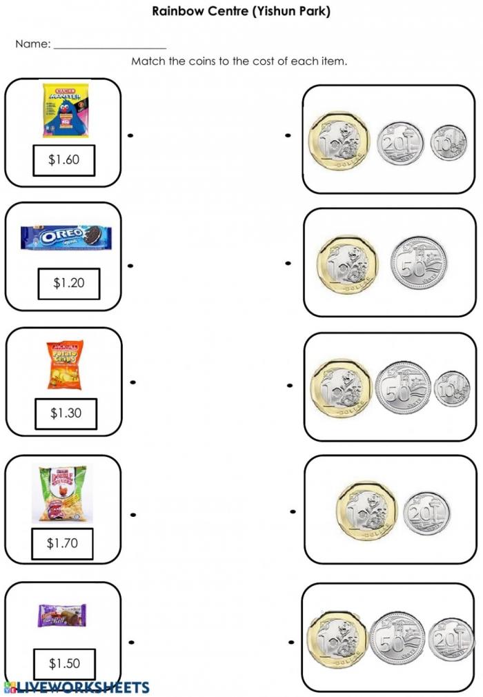 Singapore Pricetag Matching  Worksheet