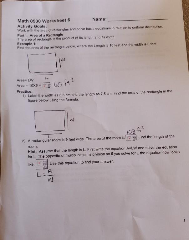 Solved Math  Worksheet  Name Activity Goals Work W